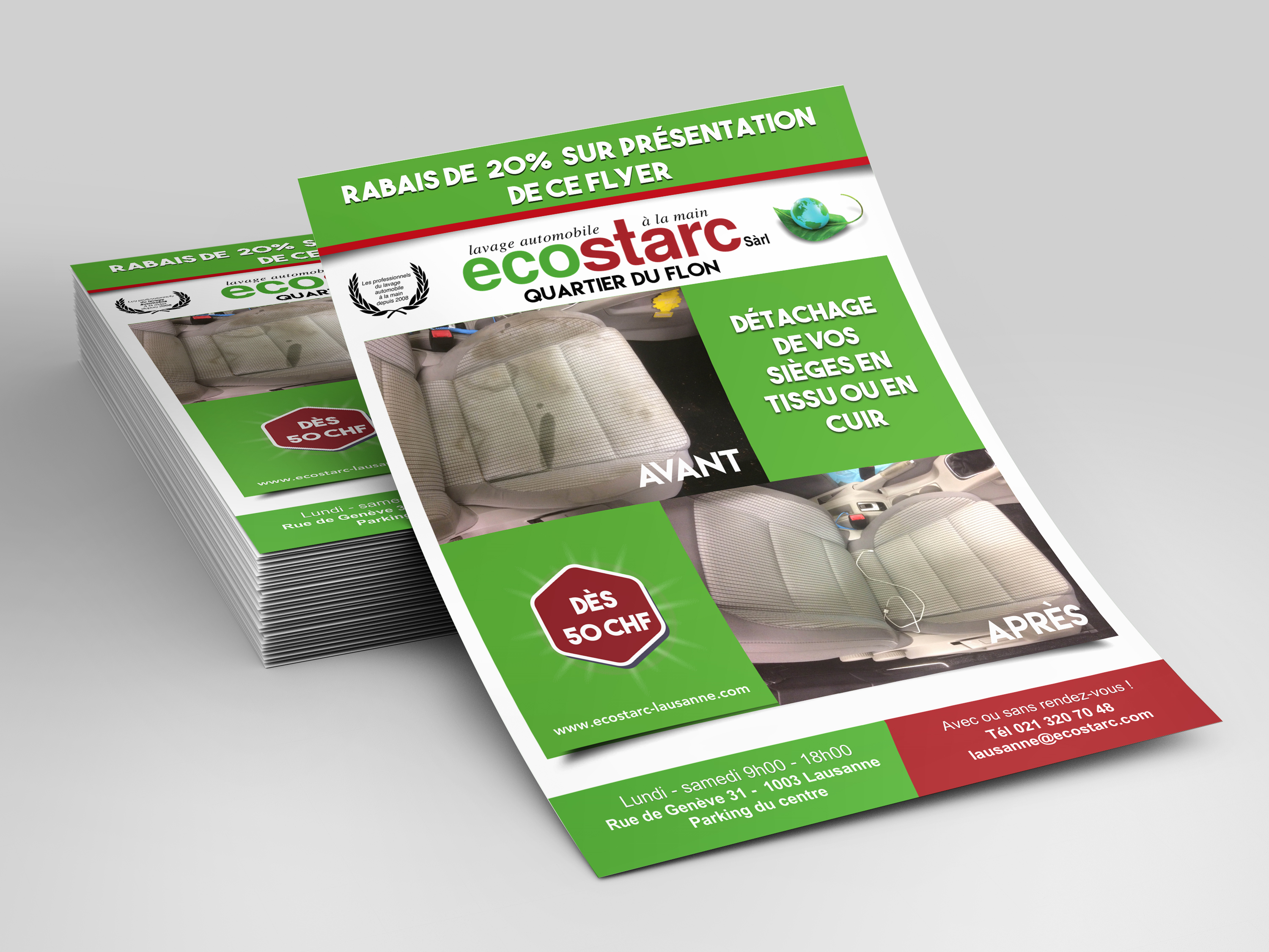Conception, impression et distribution (service 3 en 1) pour le garage Ecostarc